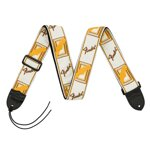 "Fender® 2"" Monogrammed Strap White/Brown/Yellow"